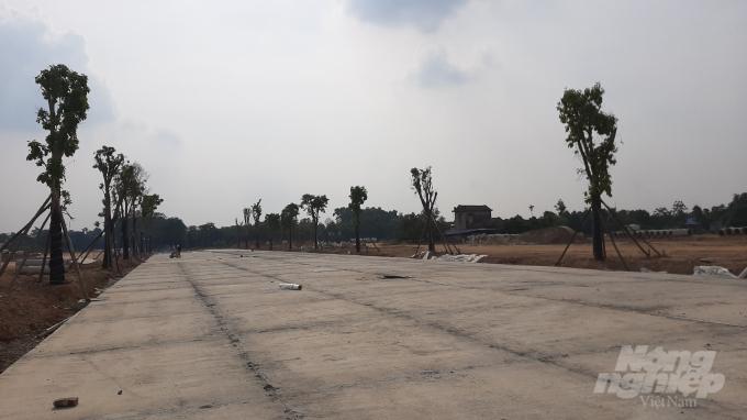 Quảng trường trung tâm và đường đi bộ được đổ bê tông, chuẩn bị lát đá. Ảnh: Toán Nguyễn.